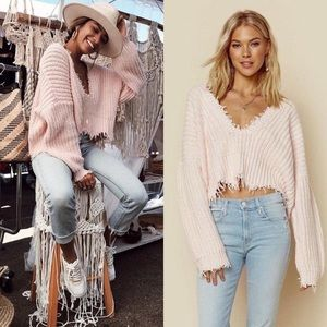 NWT Wildfox Pink Palmetto Chunky Knit Sweater